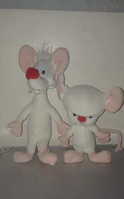 """PINKY and THE BRAIN Plush Toys From 1994 Warner Bros. Dakin 11"""" & 9"""" Plushies"""
