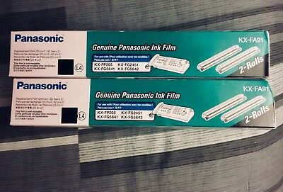 Genuine OEM Panasonic KX-FA91 Ink Film 2 Rolls Brand New - Still Sealed