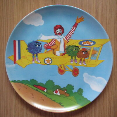 1985 McDonalds Plastic Plate - Ronald and Fry Guys Flying in a Biplane - Vintage