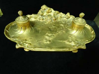 c1900 French Art Nouveau Bronze Ink Stand, Raspberries, Marionnet