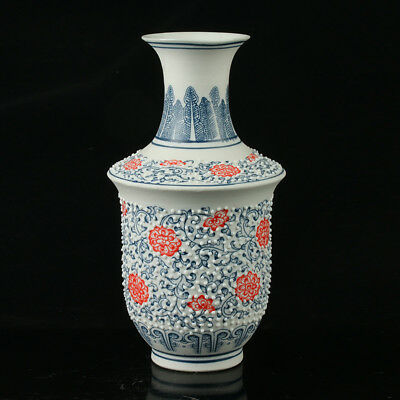 Chinese Porcelain Hand-Painted Flower Vase Mark As The Qianlong Period  R1043