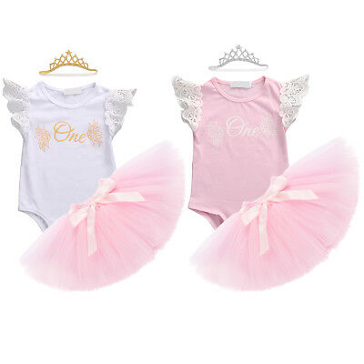Toddler Baby Girl 1st First Birthday Flutter Sleeve Romper Skirt Outfits Clothes