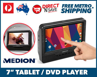 "Medion 7"" Tablet DVD Player In Car Kids Wifi Bluetooth Android Headrest MD43506"