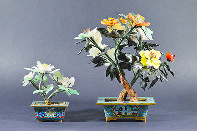 1900s CHINESE CLOISONNE HARDSTONE TREES POT BONSAI POTTED FLOWERS VINTAGE