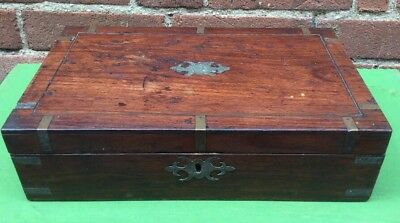 Antique Victorian Solid Wood & Brass Banding Trinket / Jewellery / Writing Box.