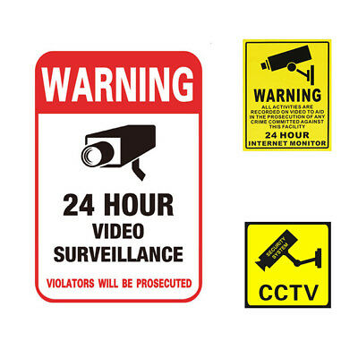 1x Warning Home Defense Security Decal Sign Stickers Video Surveillance 24 Hour