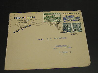 Tunisia 1946 airmail cover to Sweden tears *9236