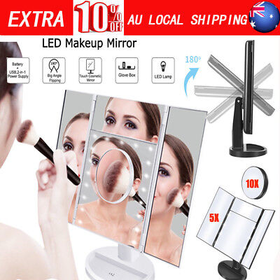 Tri-Fold LED Lighted Touch Screen Magnifying Makeup Mirror Cosmetic Stand AU