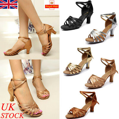UK Womens Ladies Ballroom Latin Tango Dance Shoes 5cm Heeled Salsa Sandals Party