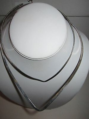 2 Silver Plated Choker Necklaces - See Pics - 28 Grams - Tarnishing - Tk3-D