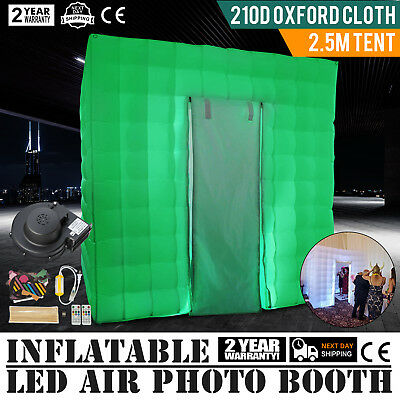 2.5M Inflatable LED Air Pump Photo Booth Tent Built-in Blower Oxford Fabric