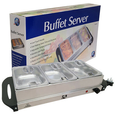 Stainless Steel 300W Electric Food Warmer 3 Pans Buffet Server Hot Plate Tray