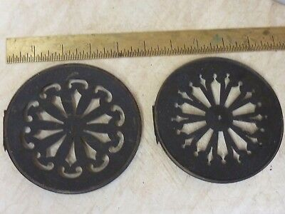 2 Antique French Clock Pierced Brass Back Doors (2)