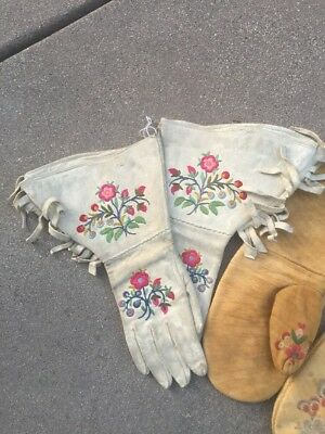Great Collection Of Antique Metis Cree Canadian Indian Gauntlets Norway House