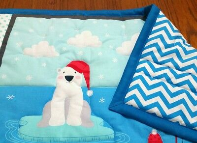 "EMROIDERED handmade ""NORTH POLE"" 34x44in boys baby/toddler quilt/comforter-gift"