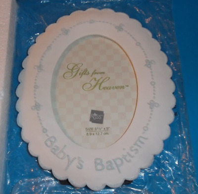 """Russ Gifts From Heaven """"Baby's Baptism"""" Picture Frame 7"""" x 5 3/4"""" Porcelain"""