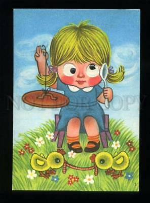 137410 Girl Musician Chickens worm Old MECHANICAL Mooving Eyes