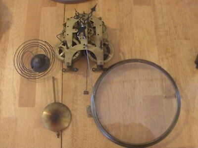 Movement With Hands,Gong,Pendulum Bezel ring and glass  Parts Or Repair