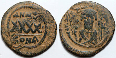 Byzantine coin PHOCAS, 602-610, 3/4 Follis AE DOUBLE STRUCK Constantinople