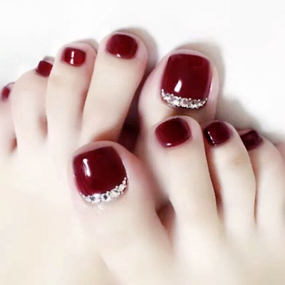 24 x New 3D Wine Red Summer Short Fake False Toe Nails Art Tips Stickers Glue