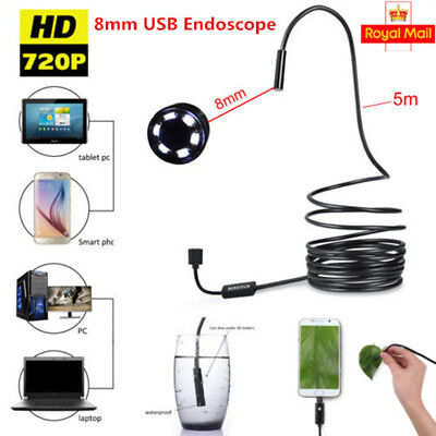 Waterproof 8mm 5M USB Endoscope Borescope Snake Inspection Camera for Android PC