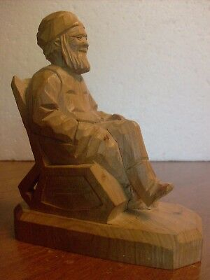 """Andre Bourgault Hand Carved Wood """"Old Man In Rocking Chair"""" Sculpture"""