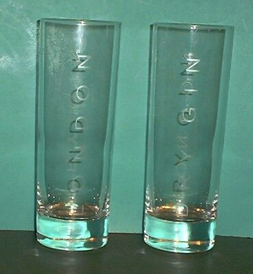 "Set of 2 BEEFEATER 1820 LONDON DRY GIN Tom Collins Glasses 6 1/2"" Tall"