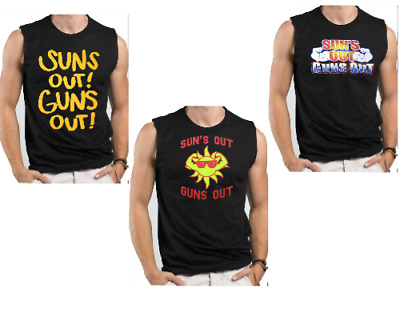Hot4TShirts Sun/'s Out Guns Out Funny Tank Top Fitness For Men