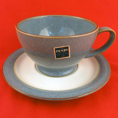 "STORM GREY by Denby Tea Cup & Saucer 2.75"" tall  NEW NEVER USED made in England"