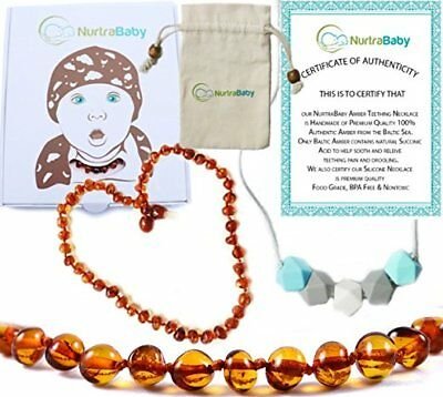 Baltic Amber Teething Necklace Gift Set For Babies + Bonus Silicone Necklace