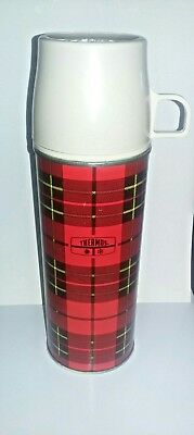 Vintage Plaid THERMOS Metal King Seeley Retro Cabin Camp Primitive Scottish Red