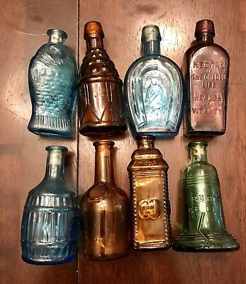 8 MINI*Bottles*Bitters*Fish*Made in Taiwan*Fish*Jug all have corks*Old