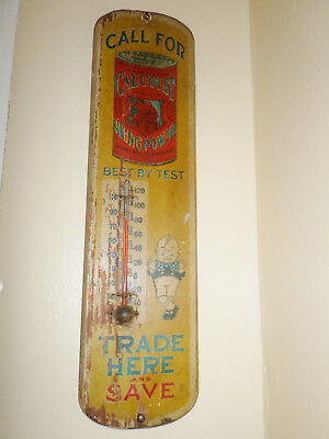 Antique Rare Wooden Calumet Kid & Indian Baking Powder Thermometer Trade Sign