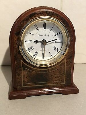 London Clock Company Mantle Clock Wood Walnut Art Deco Effect Trim