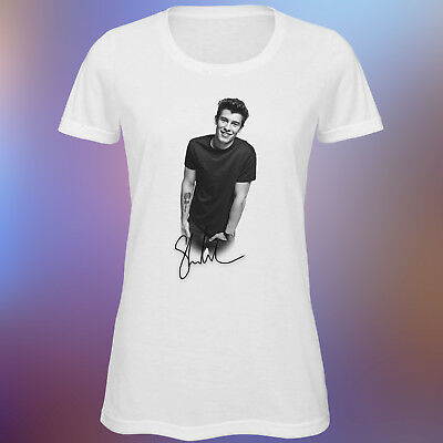 4ef6fce41e02 Women's Shawn Mendes Black & White Autograph T Shirt Music Album Tour  Illuminate