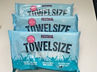 Festival/Camping holiday 3 x 2 pack Towel Size Wet Wipes Over 1 metre long