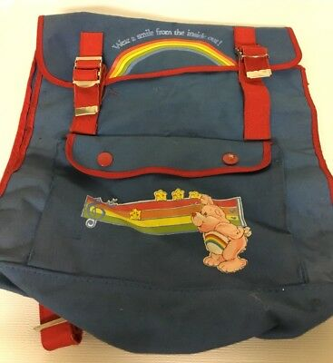 Vintage Care Bears Wear A Smile Inside Out Rainbow Bag Backpack Music Red Blue