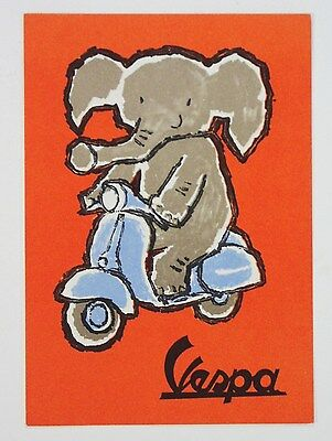 ORIGINAL 60's VESPA scooter postcard Piaggio advertising Sandro Scarsi elephant