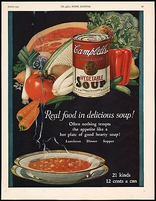 Vintage magazine ad CAMPBELLS VEGETABLE SOUP from 1925 full color n-mint cond