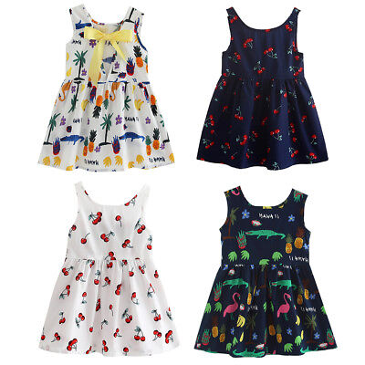 Summer Cherries Print Vest Girls Baby Girl Princess Fashion Sleeveless Dress RR
