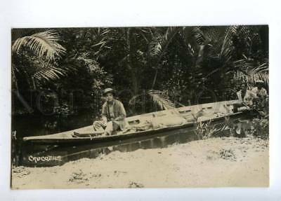 151554 INDONESIA Borneo CROCODILE in Boat Vintage photo PC