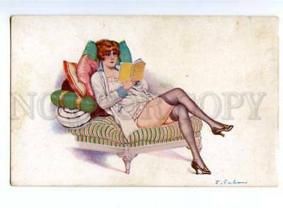 151055 ART DECO GLAMOUR Belle reading Book by FABIANO old PC