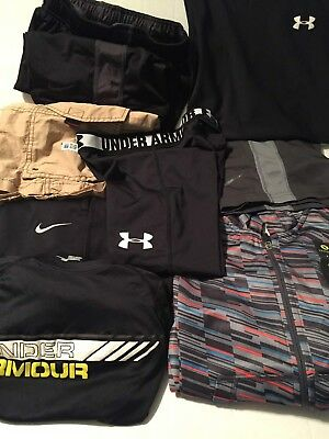 Lot of 8 Boy's mixed shirts/pants/shorts Under Armour/Nike Size YSM 7/8