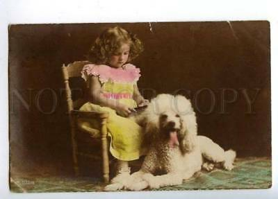 170008 POODLE Dog & Girl w/ Comb Vintage Tinted PHOTO PC