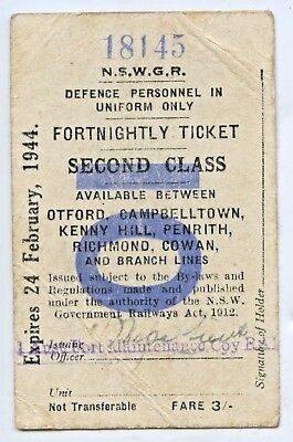 1944 Fortnightly Rail Defence Ticket Nswgr Soldier 2Aif Tom Blight On Leave K68.