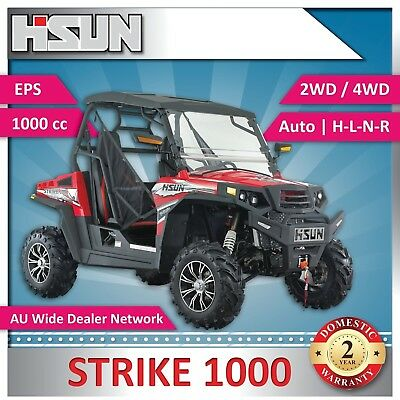 New Hisun 1000 Strike Utility Vehicle 1000cc H-L-N-R 2/4WD, Winch, Roof, W-Scree
