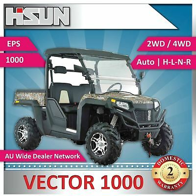 New Hisun 1000 Vector Utility Vehicle 1000cc H-L-N-R 2/4WD, Winch, Roof, WScreen