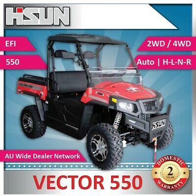 New Hisun 550 Vector Utility Vehicle 550cc H-L-N-R 2/4WD, Winch, Roof & W-Screen