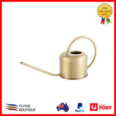 Brass Effect Watering Can Gardening Tool Stainless Vintage Plant Long Spout Home