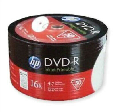 10 HP DVD-R 16X 4.7GB full hub white inkjet Printable DVD -R Blank media Discs